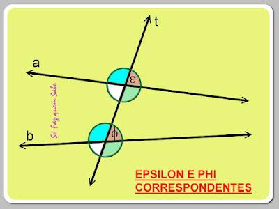 Epsilon e Phi. Ângulos correspondentes.