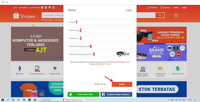 Cara Daftar Akun Shopee dengan Menggunakan Email