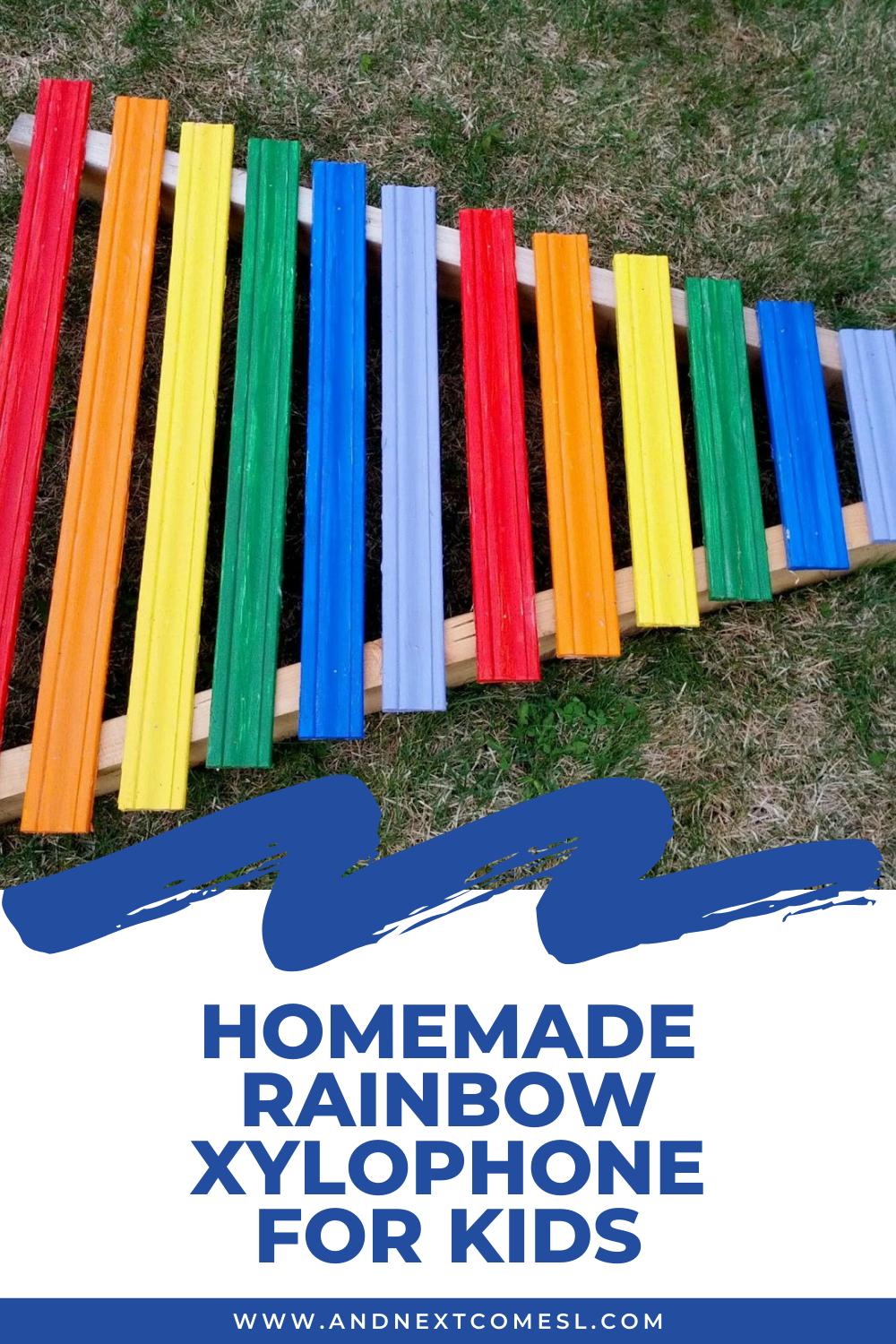 Giant rainbow xylophone tutorial: how to make a homemade xylophone for kids