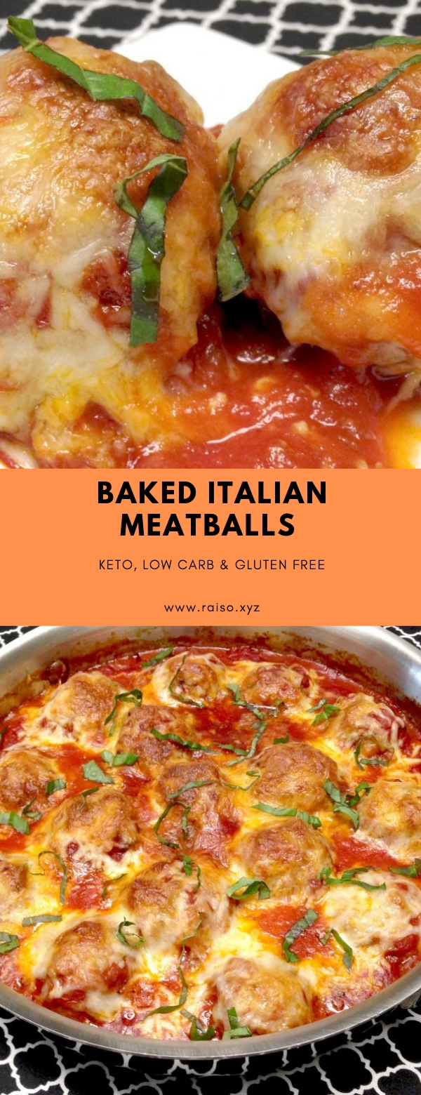 Baked Italian Meatballs - Keto, Low Carb & Gluten Free #lowcarb #keto #meatballs