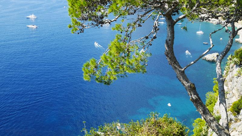 Il mare e le scogliere di Capri