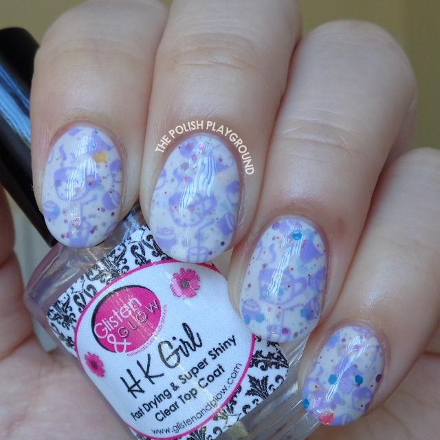 Purple Bakery Inspired Stamping Nail Art