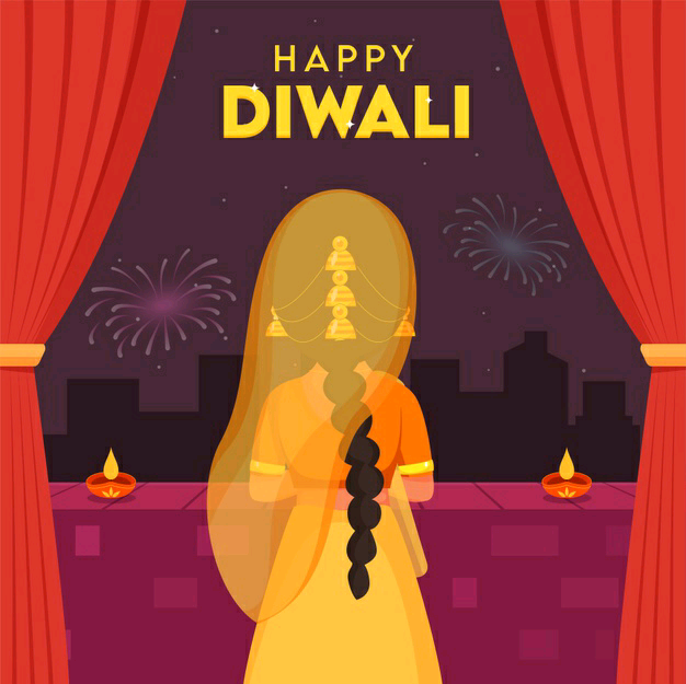 happy diwali images with girl