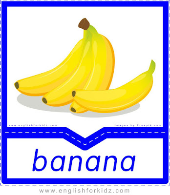 Banana - English flashcards for the fruits and vegetables topic