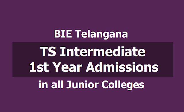 TS Inter 1st Year Admissions 2019 schedule for all Junior Colleges in Telangana State