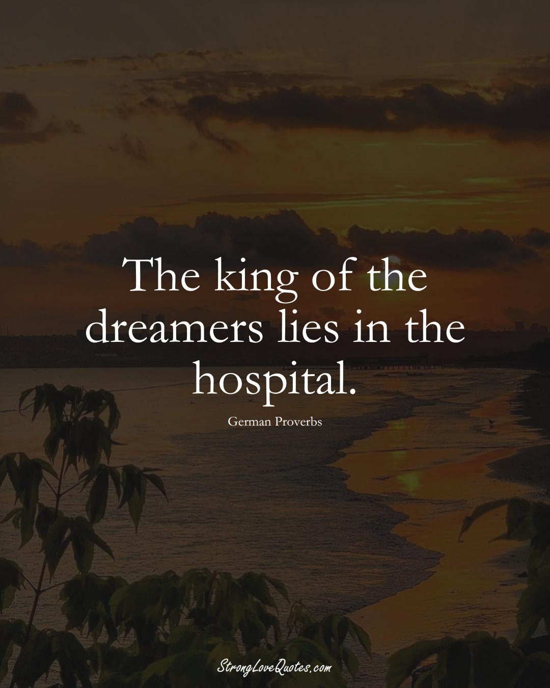 The king of the dreamers lies in the hospital. (German Sayings);  #EuropeanSayings