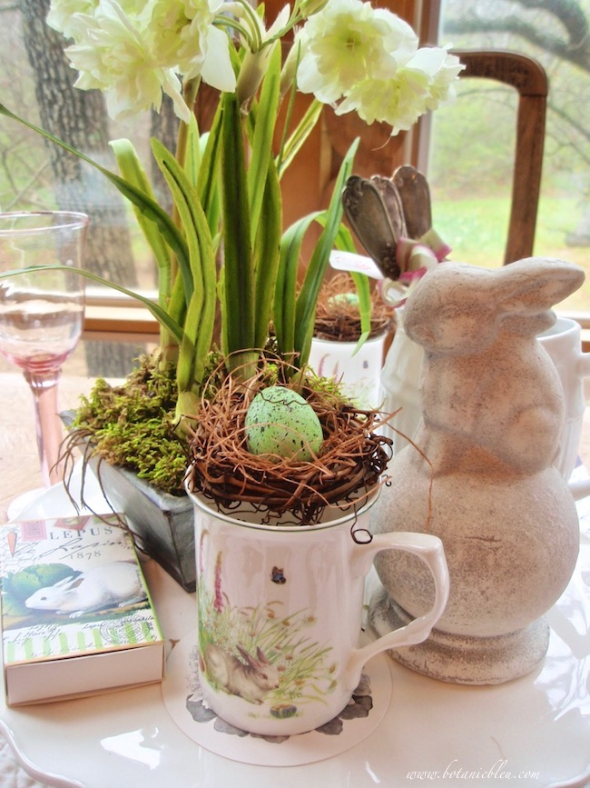 french lapin bunny spring centerpiece diy bird egg and nest