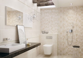 baño moderno en beige