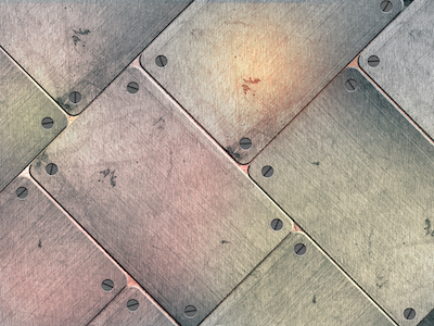 Grunge scratched metal plates with screws background