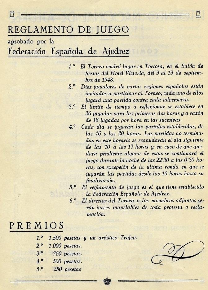 Página 5 del Boletín del I Torneo Nacional de Ajedrez de Tortosa 1948