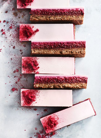 CHOCOLATE, RASPBERRY AND COCONUT PANNA COTTA BARS