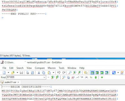 Lấy public key từ file certificate .cer .crt