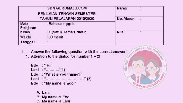 Soal UTS/PTS Bahasa Inggris Kelas 1 Semester 1