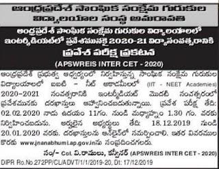 APSWRIES Inter CET 2020 Notification, BG Inter CET 2020 Hall Ticket, BG Inter CET 2020 Exam Pattern-APGPCET 2020