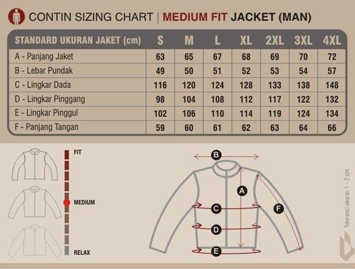 Untuk tabel ukuran jaket contin kamerad bisa dicek di bawah ini   0ca4a11848