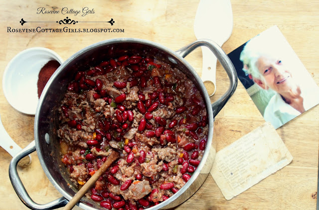 Delicious chili recipe in a pan with an old recipe and photograph rosevinecottagegirls