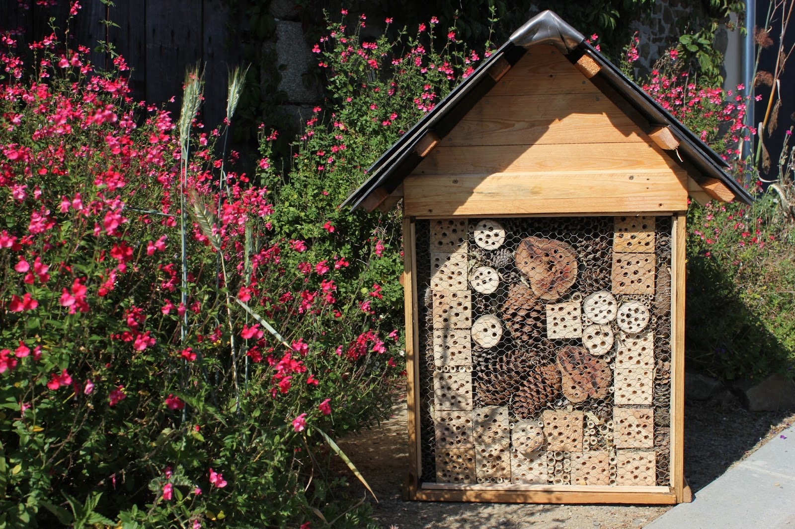 DIY insect hotel as a utility box cover