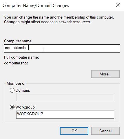 كتابة اسم جهاز الكمبيوتر