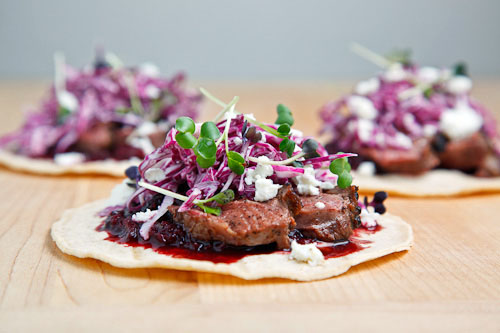 Duck Tacos with Chipotle Cherry Salsa and Crumbled Goat Cheese