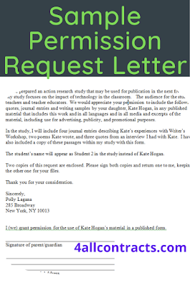 sample permission request letter for school