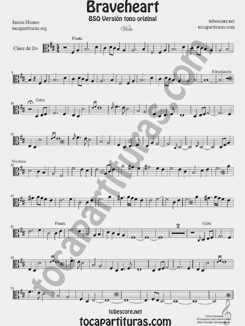 BraveheartPartitura de Viola en clave de do en cuarta línea Viola sheet music in C clef