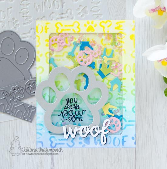 Pawprint Shaker Card by Tatiana Trafimovich | Pawprint Shaker Die Set, Say Woof Stamp Set & Woof Stencil by Newton's Nook Designs #newtonsnook #handmade