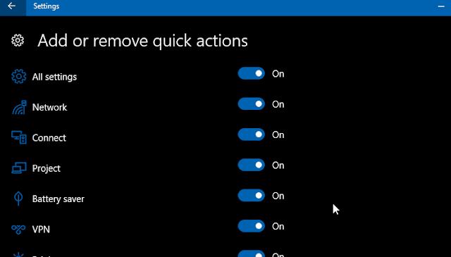tambah hilangkan quick action