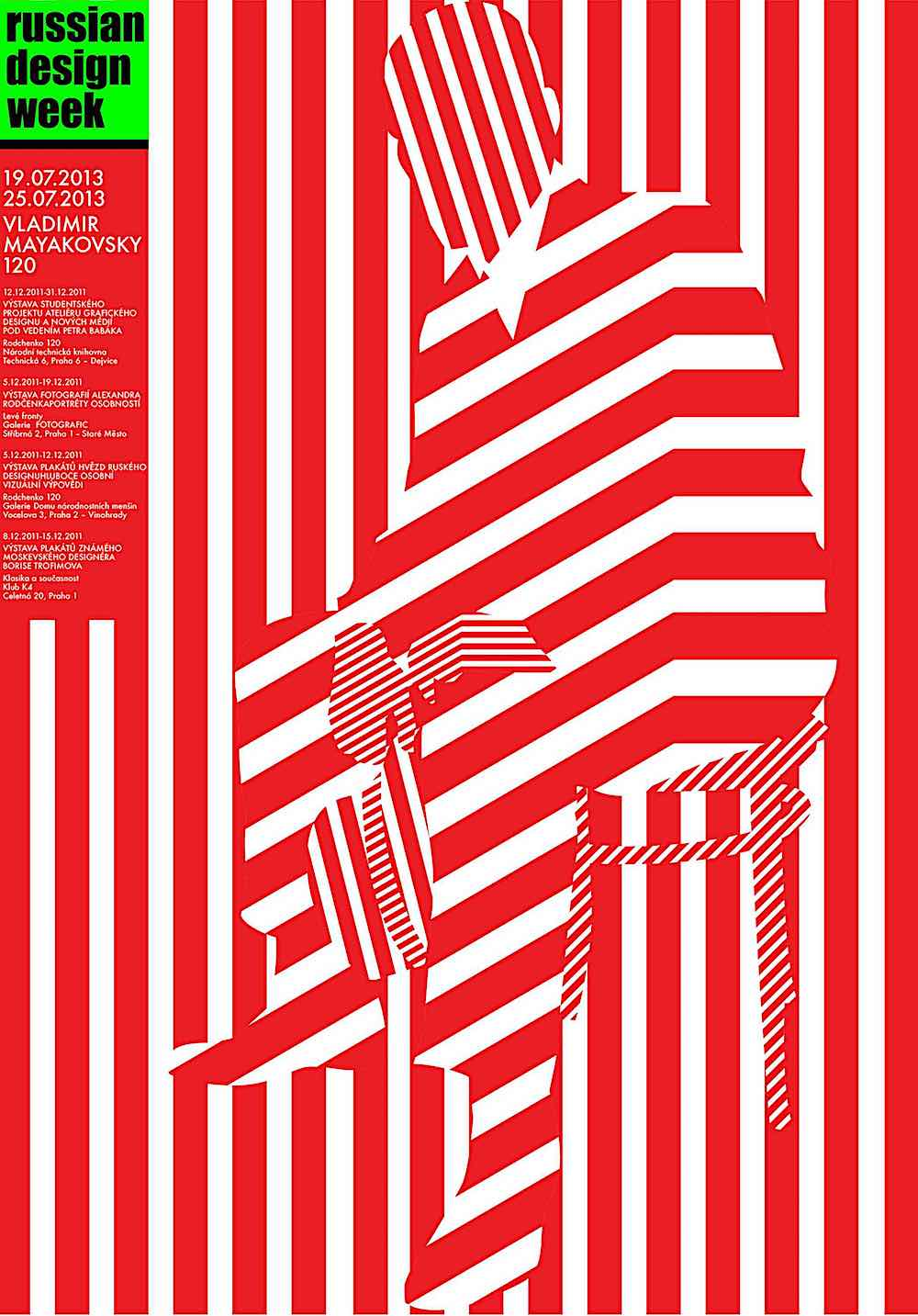 a Kulachek Russian Design poster in red stripes, a man sitting