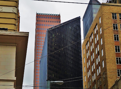 Pennzoil Place seen from Main Street - Downtown Houston TX