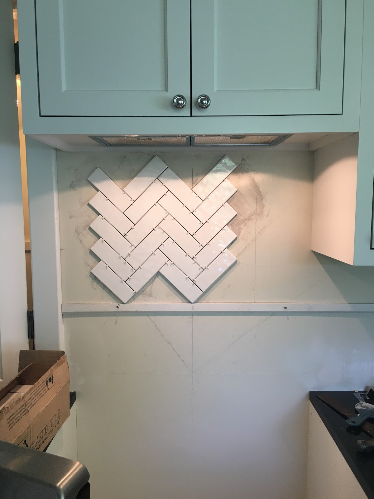 The Sourced Home Diy Herringbone Backsplash