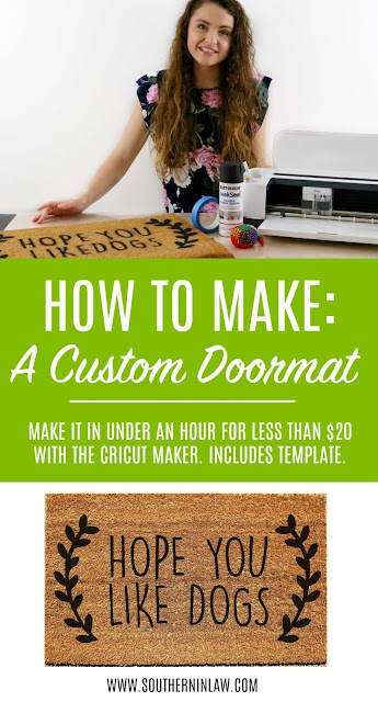 How to Make a Custom Doormat with the Cricut Maker - DIY Painted Doormat Tutorial