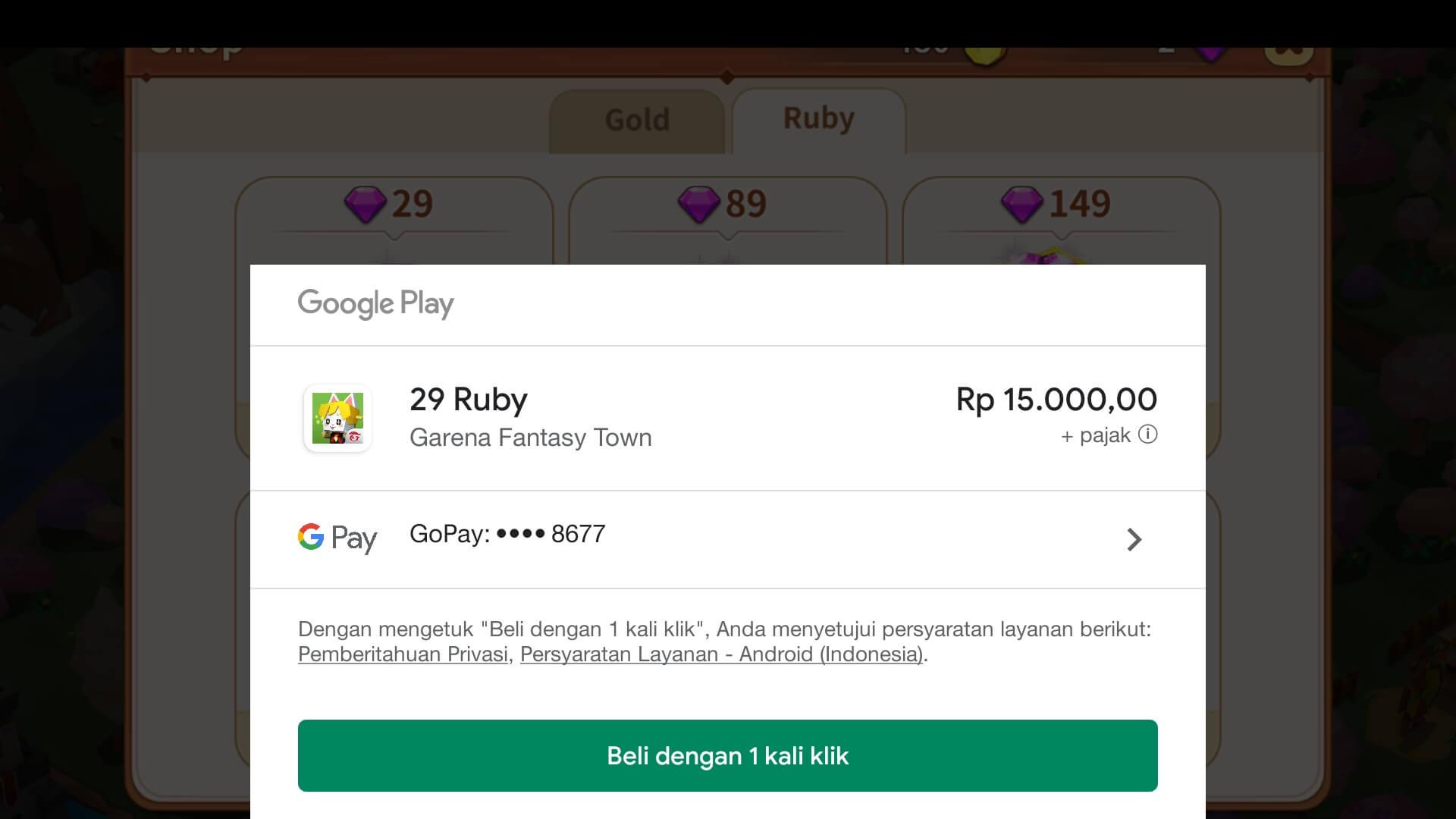 Top Up Ruby Pakai GoPay di Google Play