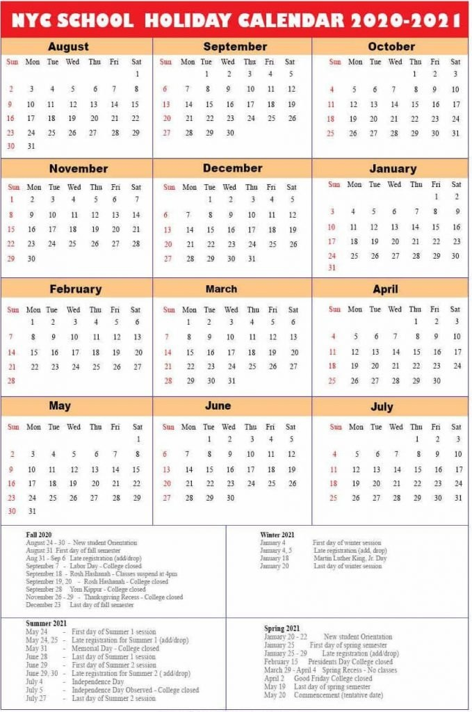 Images of Nyc Doe School Calendar 2021