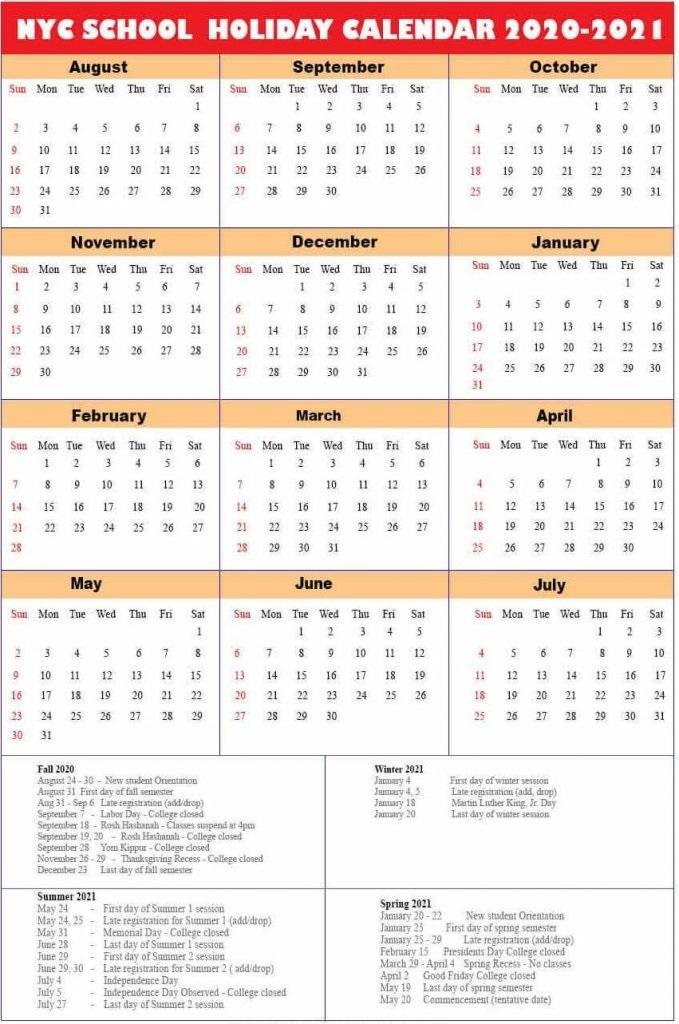 Nyc Public School 2021 Calendar NYC DOE Calendar 2020 2021