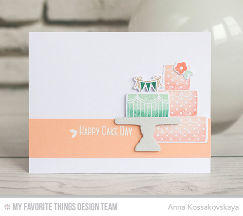 Handmade card from Anna Kossakovskaya featuring Lisa Johnson Designs Celebrate with Cake #mftstamps