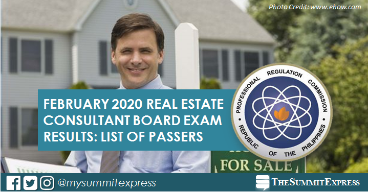 FULL RESULTS: February 2020 Real Estate Consultant board exam list of passers