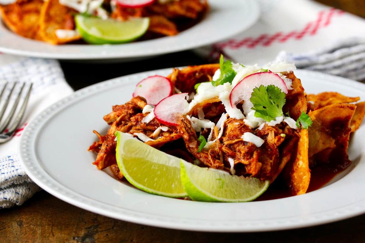Chicken chilaquiles with casera chips for brunch