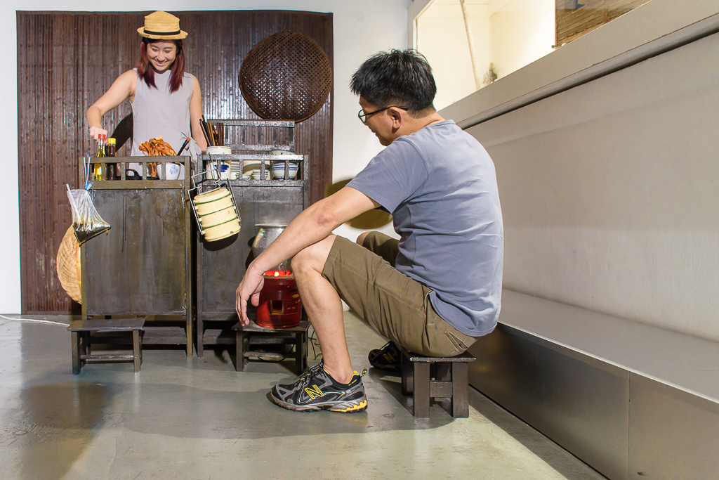 penang malaysia wonderfood museum, hawker stall set