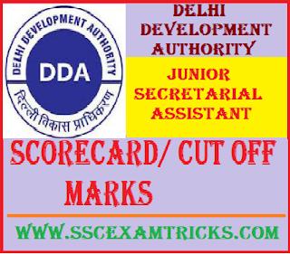 Delhi Development Authority Junior Secretarial Assistant Scorecard/ Cut off