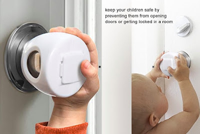 Lockable Door Handle Cover by Betertek - Safety Knobs for Babies