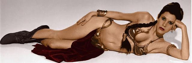 Carrie Fisher as Princess Leia in a bikini