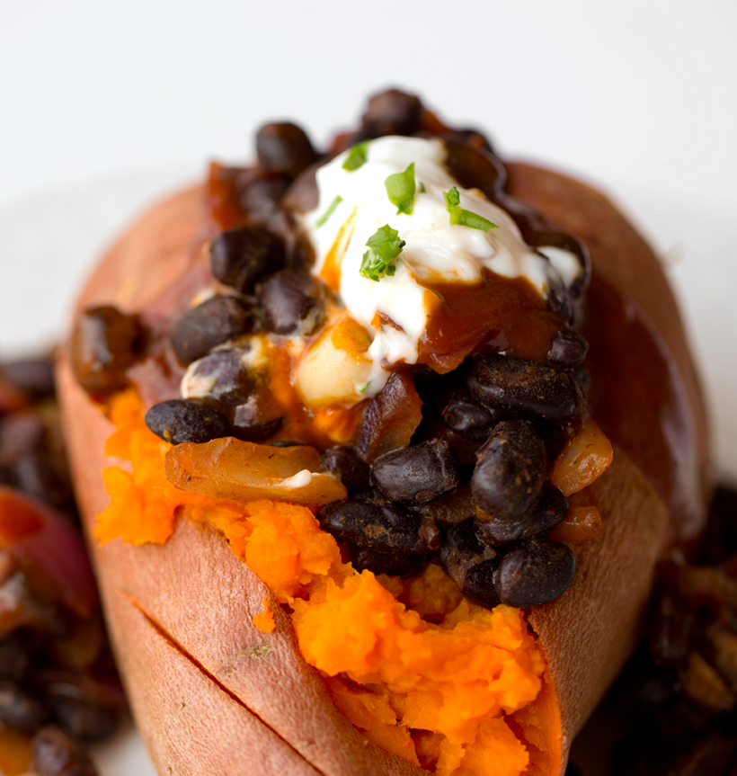 BBQ Black Bean-Stuffed Sweet Potato