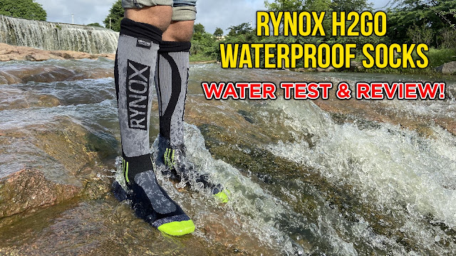 Rynox recently launched their 100% Waterproof Socks and It was just about time for my monsoon rides to start. I've been waiting for an Indian brand to launch waterproof socks in India because all foreign brands are quite expensive when it comes to anything that is waterproof. I was initially planning to go for sealskinz waterproof socks but those are expensive (You can get those for somewhere around 8K-12K INR, Including shipping) but Thanks to Rynox, I now have the H2GO waterproof socks. Rynox were kind enough to send these socks for me to test them,  shoot a review video and I did just that. This is not a sponsored review, my reviews have always been honest and will continue to do so in the future as well.  I Tested these waterproof socks in water, wore them without the riding boots just to test them out (Do not wear them without shoes because it may damage the waterproof membrane. I did this because I was testing the socks and was shooting a video) After testing them for about 10-15mins the socks got wet on the OUTSIDE but even then the sock doesn't let the water inside because it has a waterproof membrane. so the waterproof membrane has a height of 30cms and anything beyond 30cms the water might seep in but 30 cms is more than enough for keeping you safe from water because you don't really need more than 30cms of height for trekking, offroading, riding in the rain etc. I tried my best to get the water inside and I must say I failed! These are 100% waterproof! Also, these socks are very comfortable so it's not going to be a problem when you ride long distances but because it is waterproof, sweaty feet would be an uncomfortable situation if your wearing this on a hot, humid or a sunny day (Why would you wear waterproof socks on a sunny day? lol).   Conclusion : Get your pair of Rynox H2GO waterproof socks and You won't be disappointed. You can get yours for 2,650 Rupees through their website or your nearest riding gear stores. I found out These are 100% Waterproof