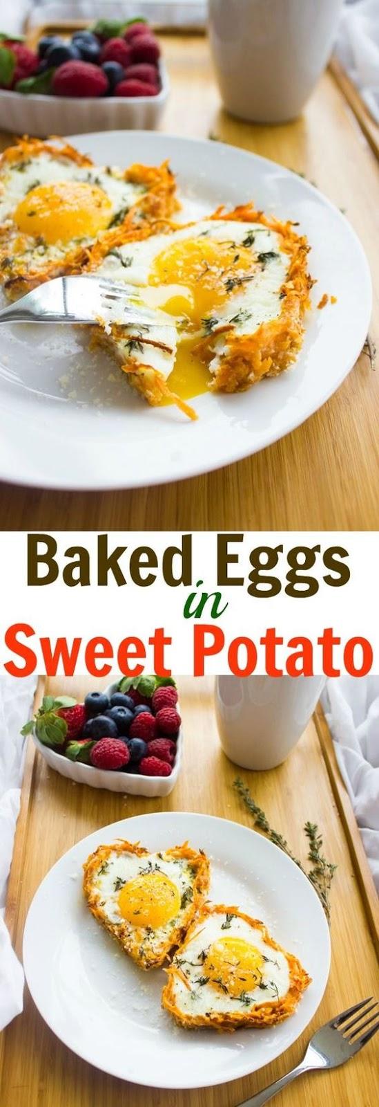 Baked Eggs Sweet Potato Crusts