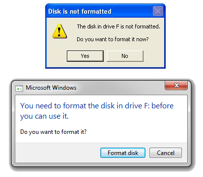 warning drive is not formatted
