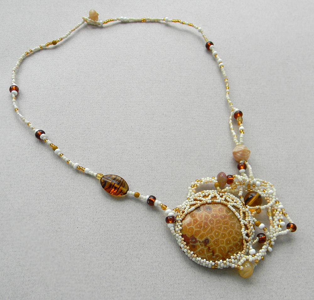 Fossil coral necklace - freeform beaded pendant - ooak boho jewelry