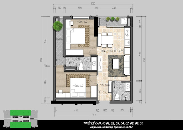 Thiết kế căn hộ 01, 02, 03, 04, 07, 08, 09, 10 - 66m2