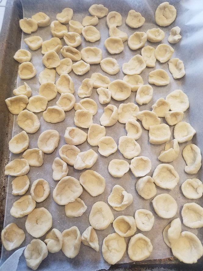 these are a hat shaped pasta with sauce on top called Orecchiette pasta and made from scratch