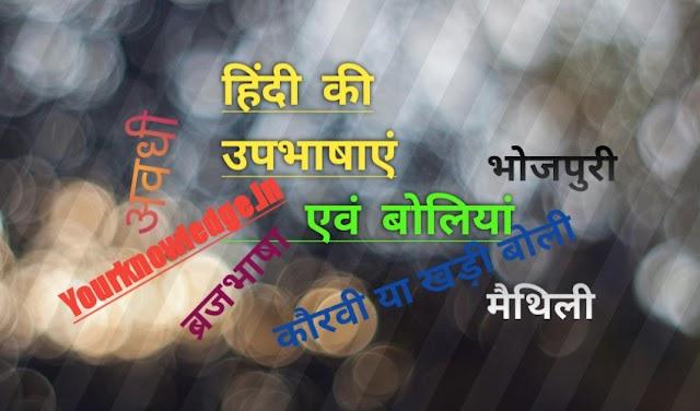हिंदी की उपभाषाएँ एवं बोलियाँ
