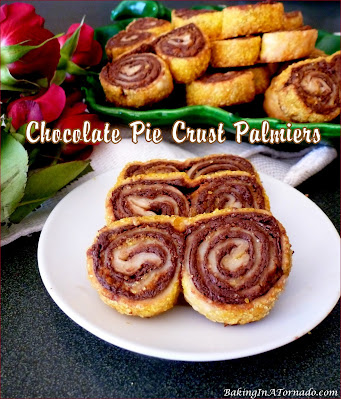 Chocolate Pie Crust Palmiers, These chocolatey crunchy bite sized cookie treats come together with just 3 ingredients. | Recipe developed by www.BakingInATornado.com | #recipe #chocolate
